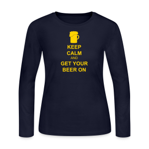 Keep Calm Get Your Beer On Women's Long Sleeve T-Shirt   - Women's Long Sleeve Jersey T-Shirt
