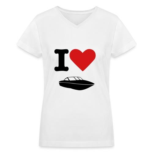 I heart motor boating - Women's V-Neck T-Shirt