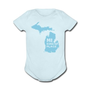 MI kind of place (blue) - Short Sleeve Baby Bodysuit