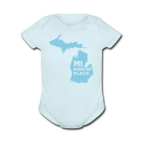MI kind of place (blue) - Organic Short Sleeve Baby Bodysuit