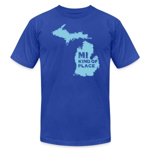 MI kind of place (blue) - Men's T-Shirt by American Apparel