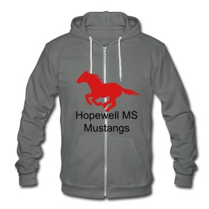 Mens Sizes Hopewell MS Mustangs ZIPPER Hoodie - Unisex Fleece Zip Hoodie