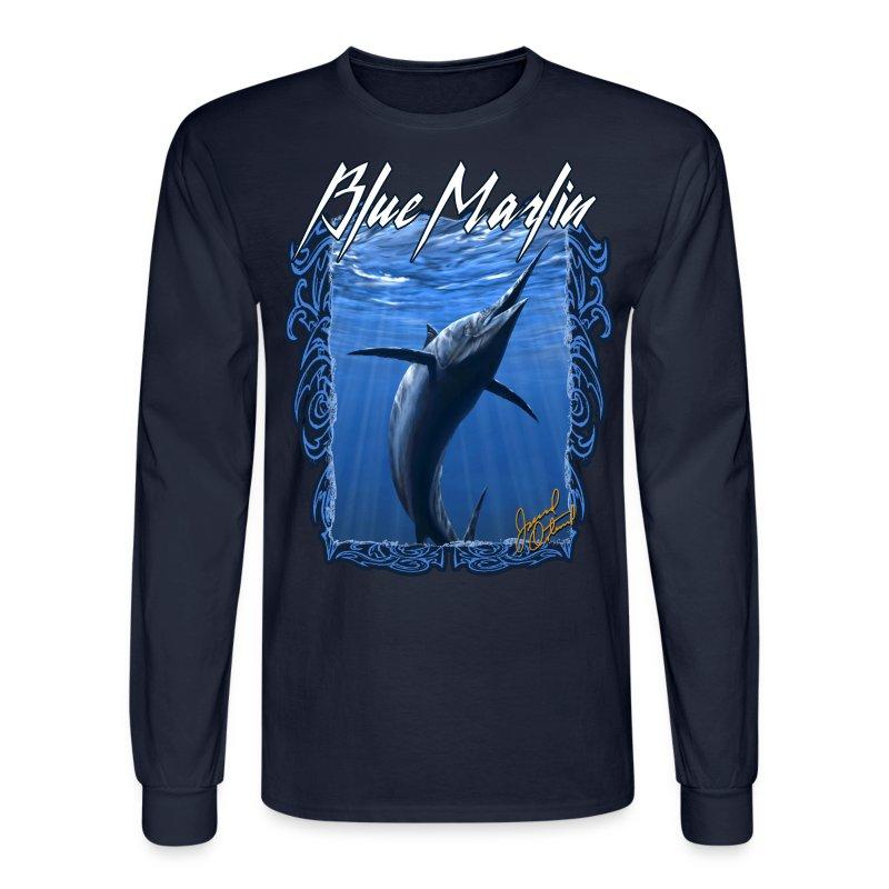 Blue marlin fishing long sleeve t shirt t shirt spreadshirt for Long sleeve fishing t shirts