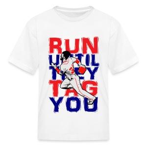 RUN TAG - Kids Blue Letters - Kids' T-Shirt