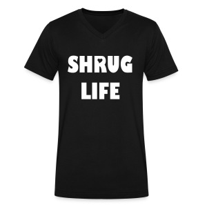 Shrug Life V Neck, Woman letters  - Men's V-Neck T-Shirt by Canvas