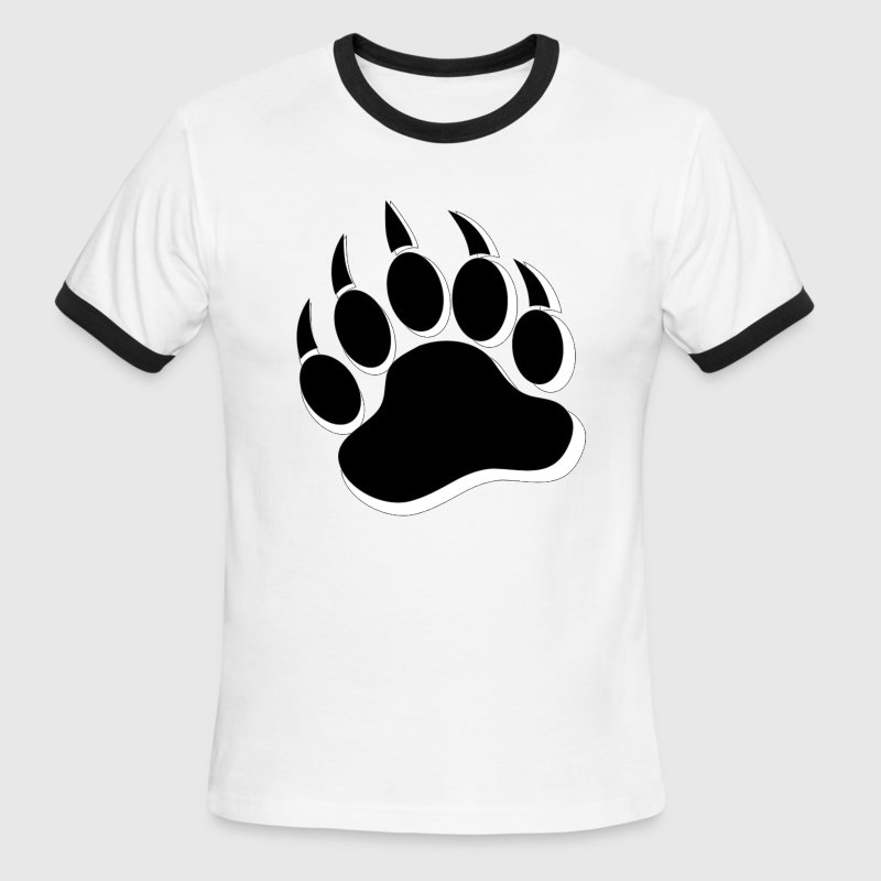Gay Bear Pride Black and White Bear Paw - Men's Ringer T-Shirt