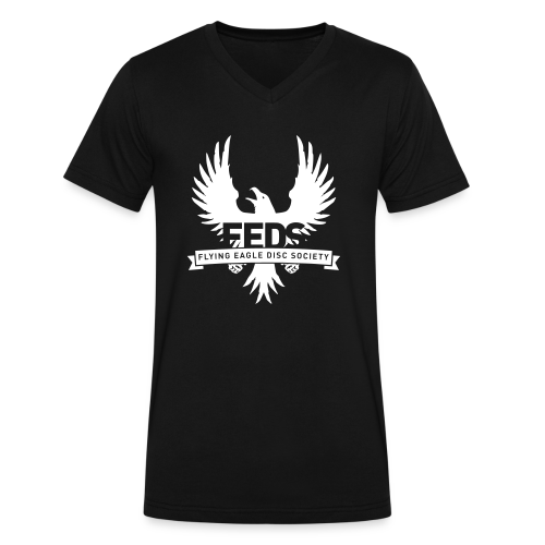 Men's V-Neck T-Shirt - White Logo - Men's V-Neck T-Shirt by Canvas