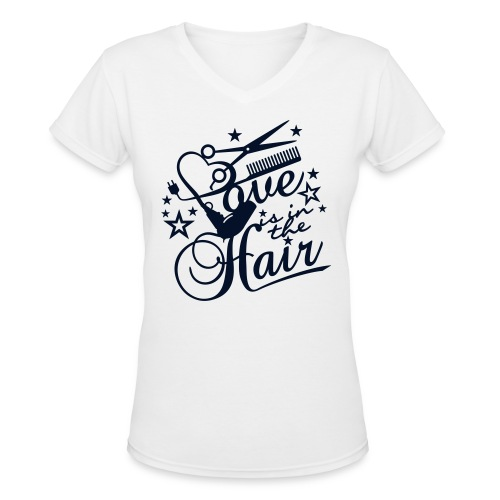 Love is in the Hair - Women's V-Neck T-Shirt
