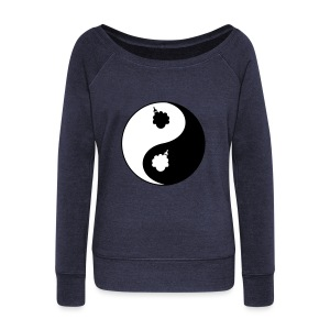Women's Afro Ying and Yang T-Shirt - Women's Wideneck Sweatshirt