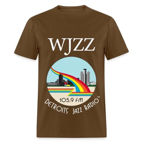 ON SALE! WJZZ white logo - Get Down Brown - Men's T-Shirt