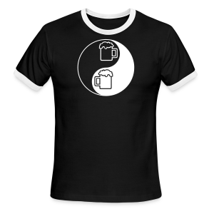 Yin-Yang Beer Mugs Men's Ringer T-Shirt  (black) - Men's Ringer T-Shirt