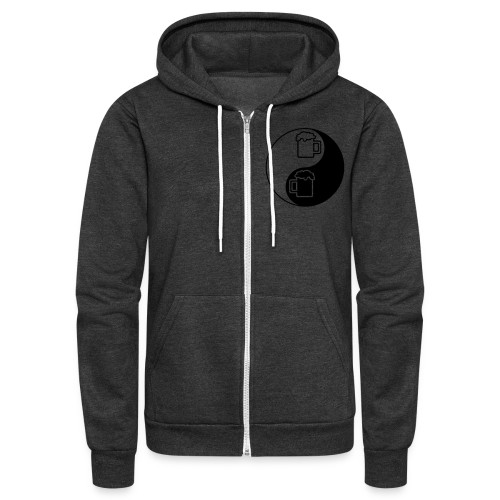 Yin-Yang Beer Mugs Unisex Fleece Hoodie (Double Sided) - Unisex Fleece Zip Hoodie