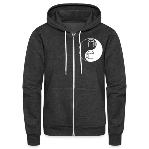 Yin-Yang Beer Mugs Unisex Fleece Hoodie (Double Sided) - Unisex Fleece Zip Hoodie by American Apparel