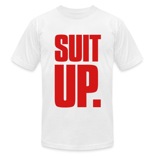 Suit Up. Men's American Apparel Tee (Red on White) - Men's Fine Jersey T-Shirt