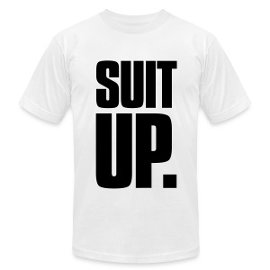 Suit Up. Men's American Apparel Tee (Black on White) - Men's T-Shirt by American Apparel