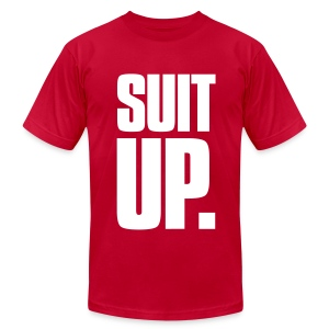 Suit Up. Men's American Apparel Tee (White on Red) - Men's T-Shirt by American Apparel