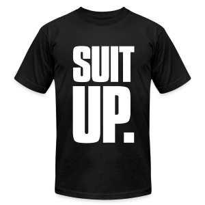 Suit Up. Men's American Apparel Tee (White on Black) - Men's T-Shirt by American Apparel