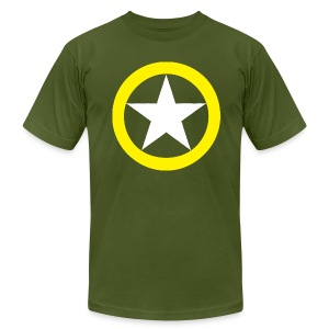 Yellow Ring White Star National Symbol - Men's T-Shirt by American Apparel