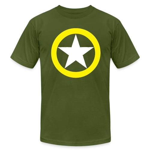 Yellow Ring White Star National Symbol - Men's Fine Jersey T-Shirt