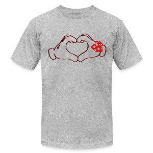 mickeys hand heart - Men's T-Shirt by American Apparel