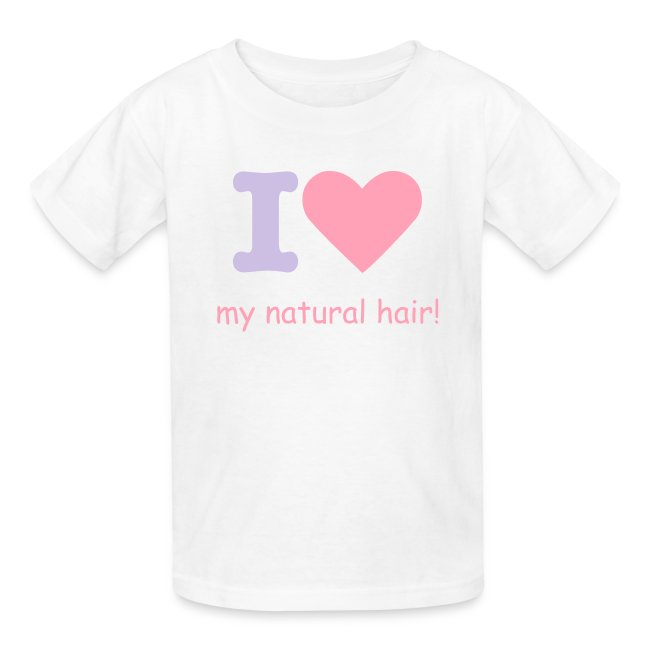 Kids tee - I love my natural hair - lavender and pink