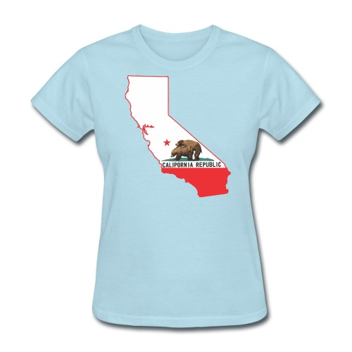 calipornia state outline f - Women's T-Shirt