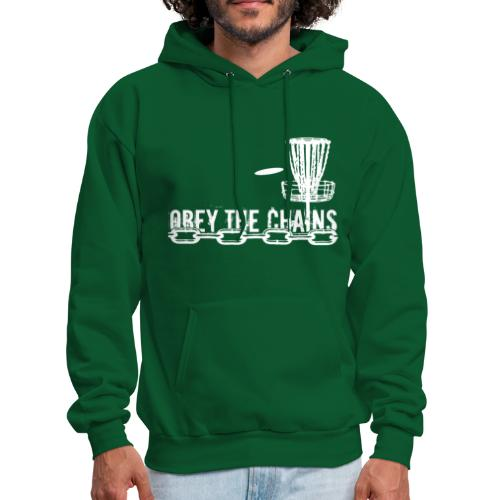 Adult Obey The Chains Disc Golf Hoodie - White Print - Men's Hoodie