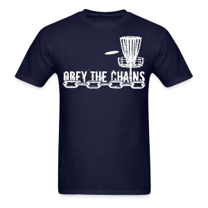 Men's Obey The Chains Disc Golf Shirt - White Print - Men's T-Shirt
