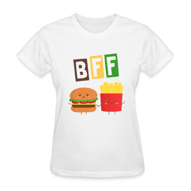 cute burger and French Fries who are bffs Women's T-Shirts