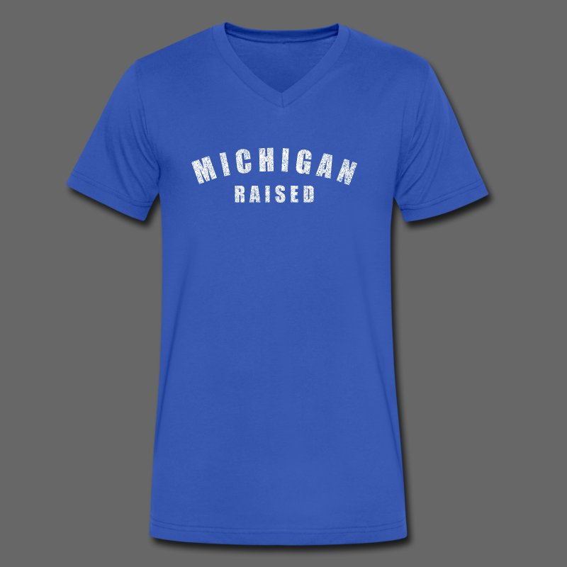 Michigan Raised - Men's V-Neck T-Shirt by Canvas