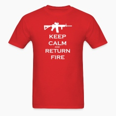 Men's Red Keep Calm & Return Fire T Shirt