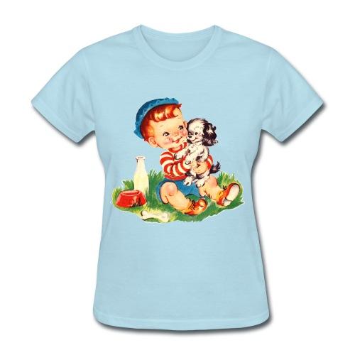 Puppy and Boy - Women's T-Shirt