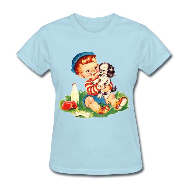 Puppy and Boy - Women's T-Shirt