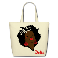 Bags & backpacks ~ Eco-Friendly Cotton Tote ~ SN&LI! Retro Fro Delta Tote (Sale)