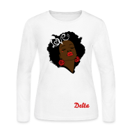 Long Sleeve Shirts ~ Women's Long Sleeve Jersey T-Shirt ~ SN&LI! Retro Fro Delta Long Sleeve