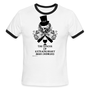 The League of Extraordinary Beer Drinkers Skull Top Hat Men's Ringer T-Shirt - Men's Ringer T-Shirt