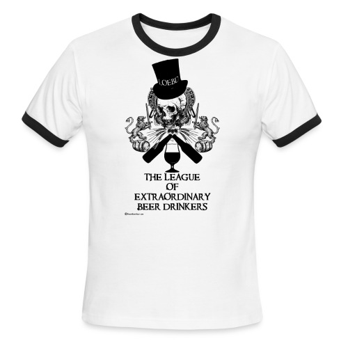The League of Extraordinary Beer Drinkers Skull Top Hat Men's Ringer T-Shirt - Men's Ringer T-Shirt