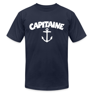 Capitaine t-shirt with anchor (Navy/Front) - Men's T-Shirt by American Apparel