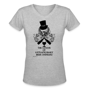 The League of Extraordinary Beer Drinkers Skull Top Hat Women's V-Neck T-Shirt - Women's V-Neck T-Shirt