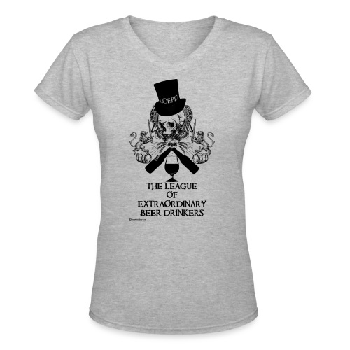 The League of Extraordinary Beer Drinkers Skull Top Hat Women's V-Neck T-Shirt - Women's V-Neck T-Shirt