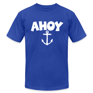 Ahoy Anchor T-Shirt (Blue/White) Men - Men's Fine Jersey T-Shirt