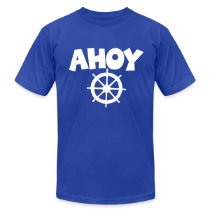Ahoy T-Shirt Wheel (Blue/White) Men - Men's Fine Jersey T-Shirt