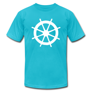 Steering Wheel T-Shirt (Turquoise/White) Men - Men's T-Shirt by American Apparel