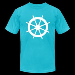 Steering Wheel T-Shirt (Turquoise/White) Men - Men's Fine Jersey T-Shirt