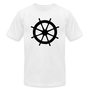 Steering Wheel T-Shirt (White/Black) Men - Men's T-Shirt by American Apparel