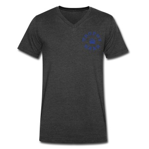 Trophy Bear Tee (Blue) - Men's V-Neck T-Shirt by Canvas