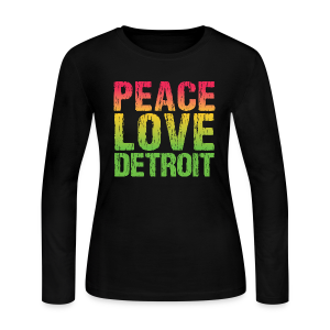 PEACE LOVE DETROIT - Women's Long Sleeve Jersey T-Shirt