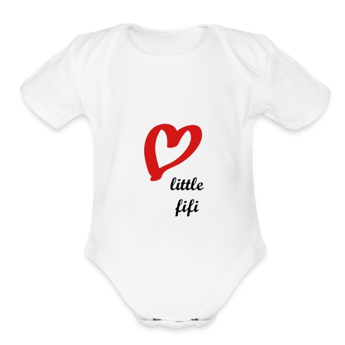 WHITE CUTE FIFI Baby Short Sleeve One Piece - Organic Short Sleeve Baby Bodysuit