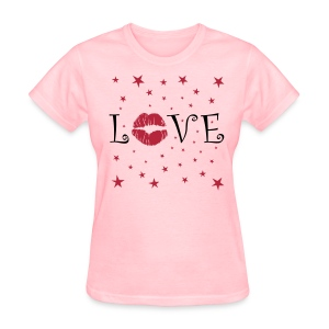 LOVE with Lips and Stars - Women's T-Shirt