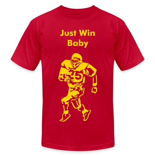 Runningback w/ Text (Just Win Baby) - Men's Fine Jersey T-Shirt